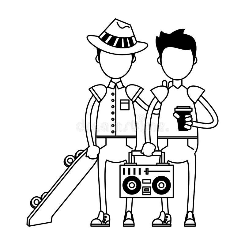 Ragazzi con il pattino e la stereotipia in bianco e nero illustrazione vettoriale