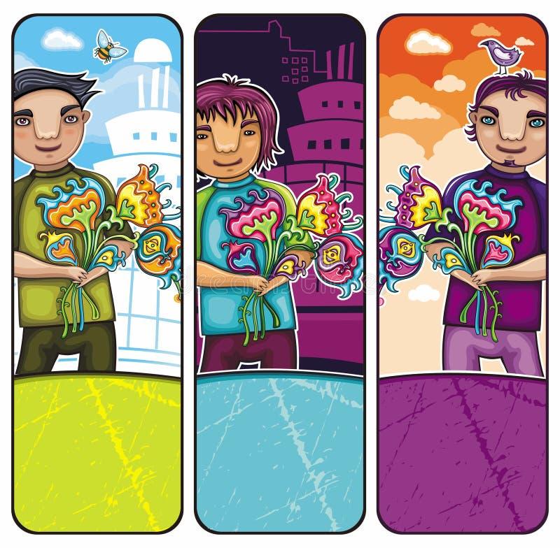 Ragazzi con le bandiere dei fiori illustrazione vettoriale