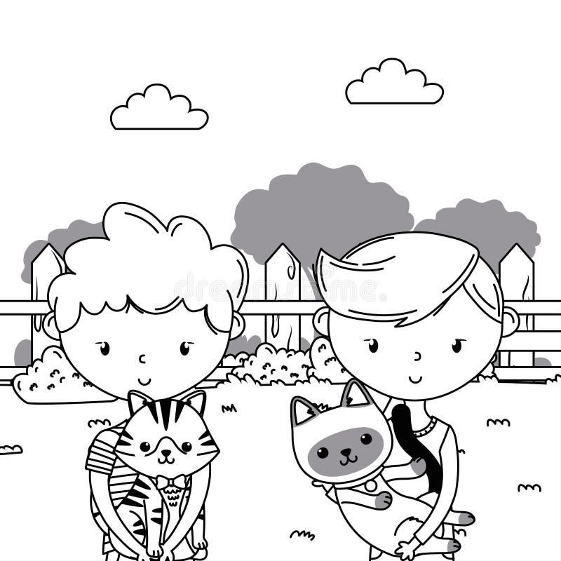 Ragazzi con progettazione dei fumetti dei gatti royalty illustrazione gratis