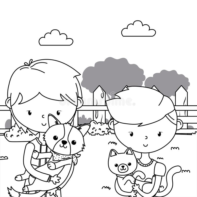 Ragazzi con progettazione del fumetto del cane e del gatto illustrazione vettoriale