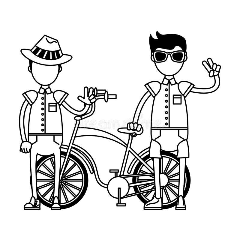 Ragazzi d'annata dei turisti e della bicicletta in bianco e nero illustrazione vettoriale