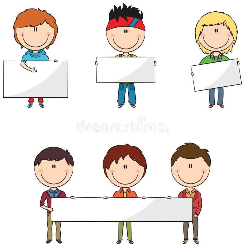 Ragazzi degli studenti con le insegne royalty illustrazione gratis