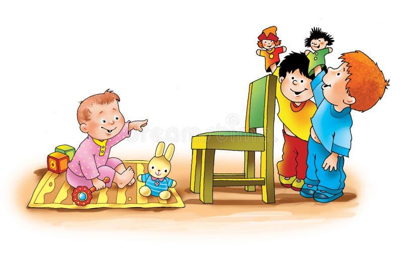 Ragazzi dei bambini che giocano addestramento dei dadi illustrazione di stock