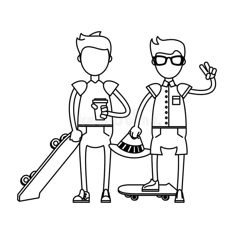 Ragazzi dei pantaloni a vita bassa con i pattini verdi in bianco e nero royalty illustrazione gratis