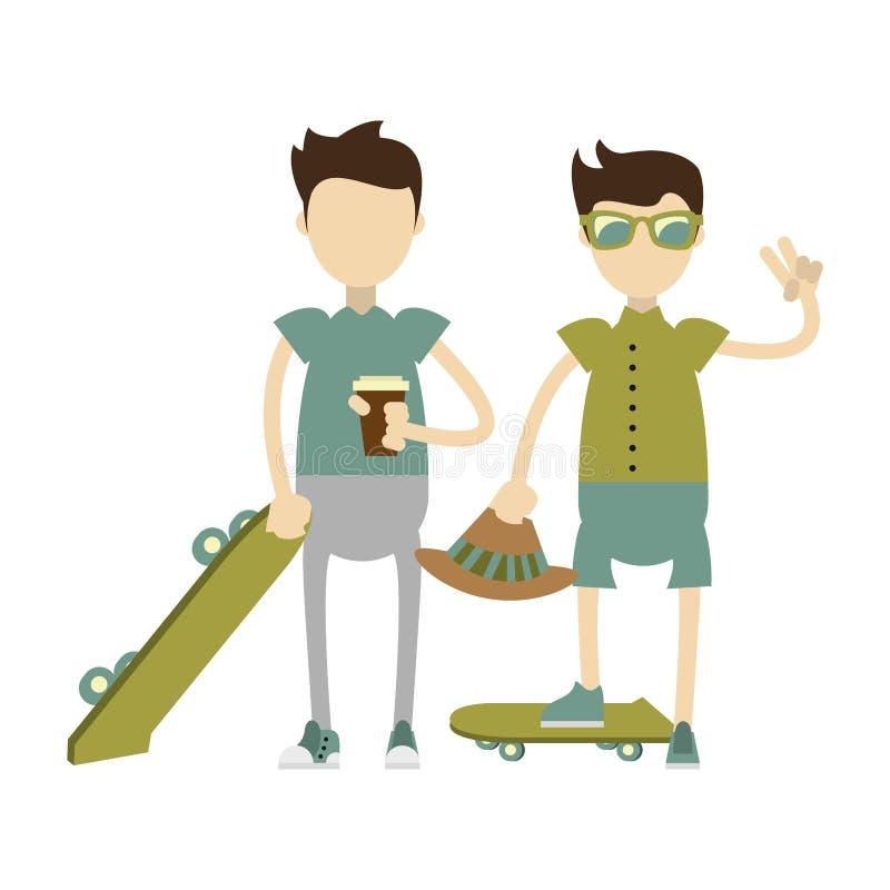 Ragazzi dei pantaloni a vita bassa con i pattini verdi illustrazione vettoriale