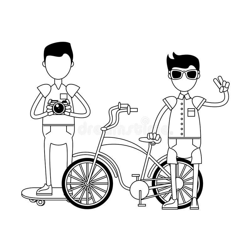 Ragazzi dei pantaloni a vita bassa con i retro accessori in bianco e nero illustrazione vettoriale