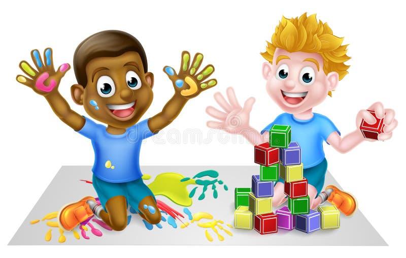 Ragazzi del fumetto che giocano con i giocattoli illustrazione di stock