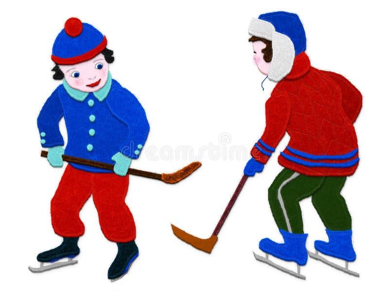 Ragazzi dell'hockey Imitazione del tessuto di applique Isolato su priorità bassa bianca illustrazione vettoriale