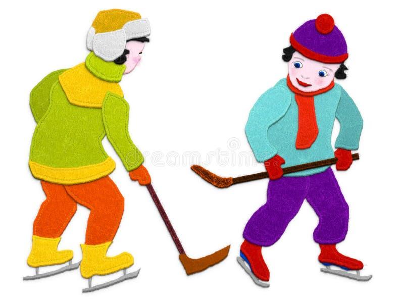 Ragazzi dell'hockey Imitazione del tessuto di applique Isolato su priorità bassa bianca illustrazione di stock