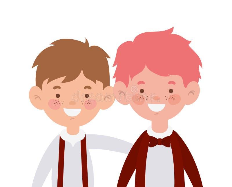 Ragazzi dello studente che sorridono sul fondo bianco royalty illustrazione gratis