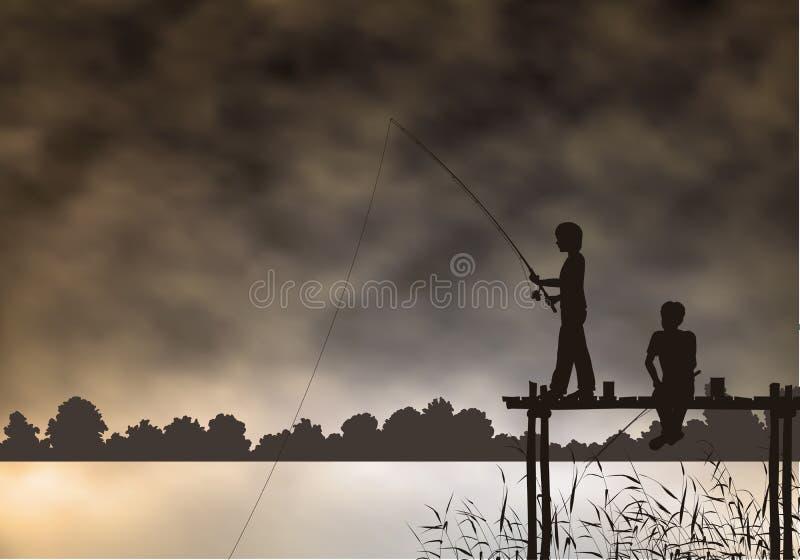 Ragazzi di pesca illustrazione di stock