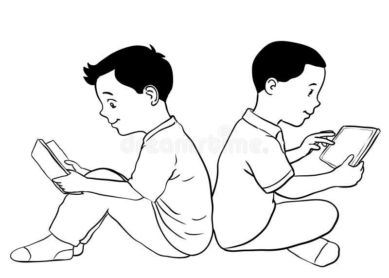 Ragazzi disegnati a mano che leggono e che usando l'illustrazione di compressa-vettore illustrazione di stock