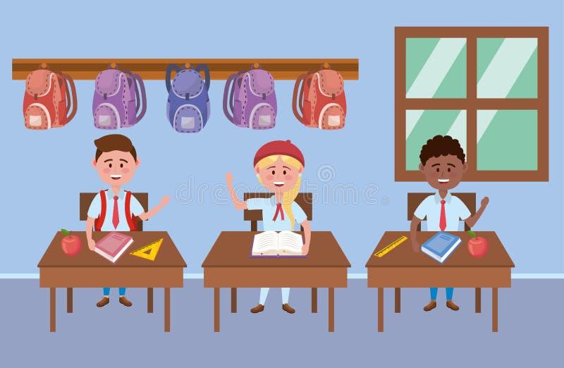 Ragazzi e bambino della ragazza di progettazione della scuola royalty illustrazione gratis