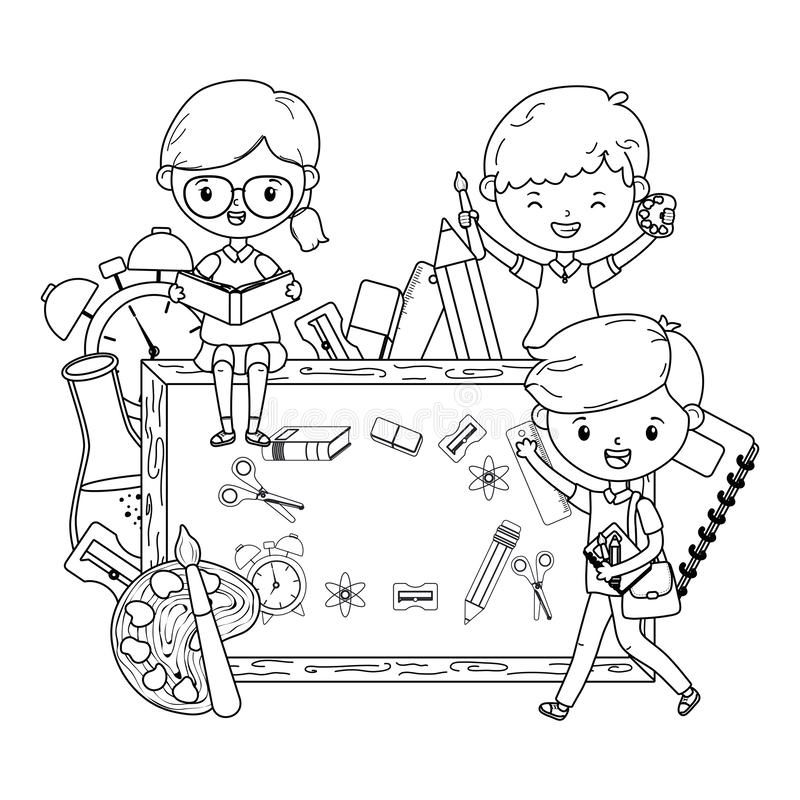Ragazzi e bambino della ragazza di progettazione della scuola illustrazione di stock