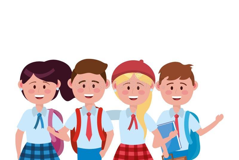 Ragazzi e bambino delle ragazze di progettazione della scuola illustrazione vettoriale