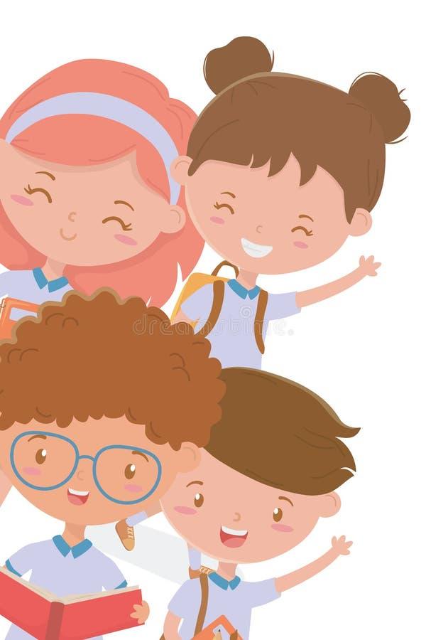 Ragazzi e bambino delle ragazze di progettazione della scuola illustrazione di stock