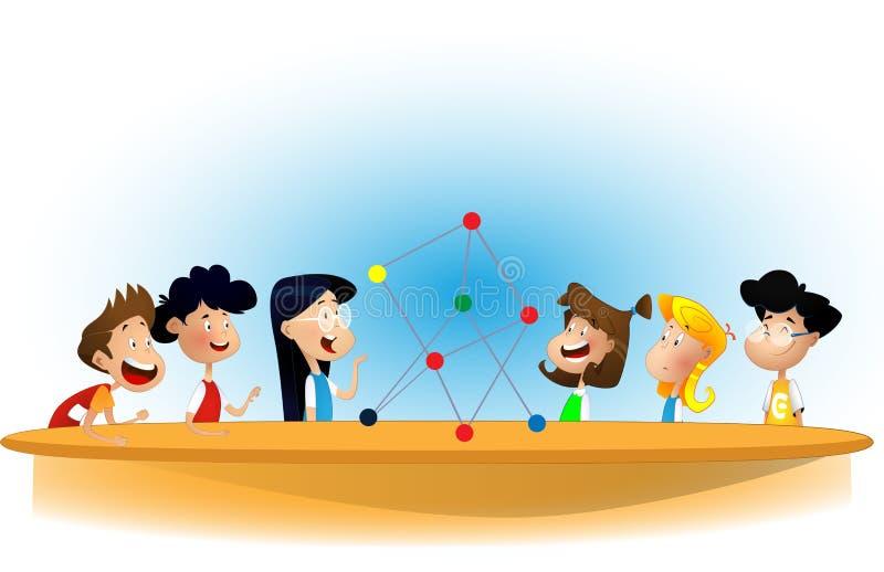 Ragazzi e ragazza del fumetto che stanno intorno alla tavola illustrazione vettoriale
