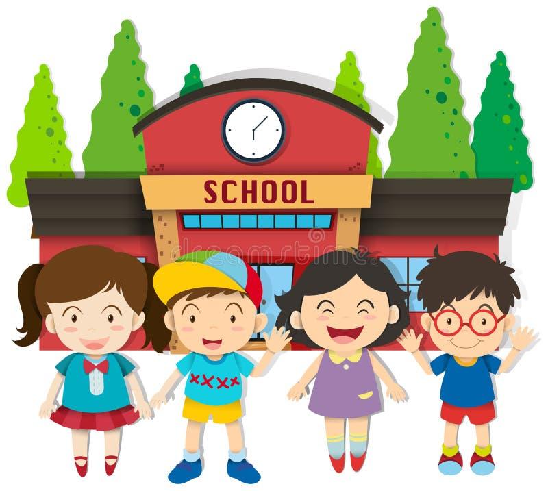 Ragazzi e ragazze alla scuola royalty illustrazione gratis