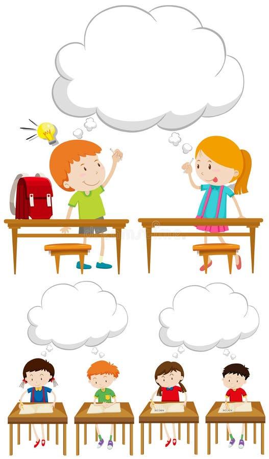 Ragazzi e ragazze in aula royalty illustrazione gratis