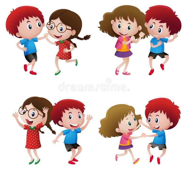 Ragazzi e ragazze che ballano nelle coppie royalty illustrazione gratis