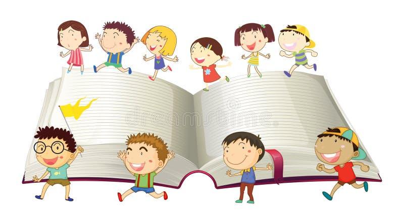 Ragazzi e ragazze che corrono sul libro illustrazione vettoriale