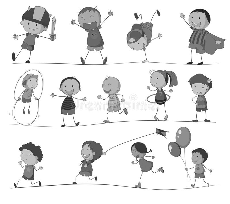 Ragazzi e ragazze che fanno le attività differenti illustrazione vettoriale
