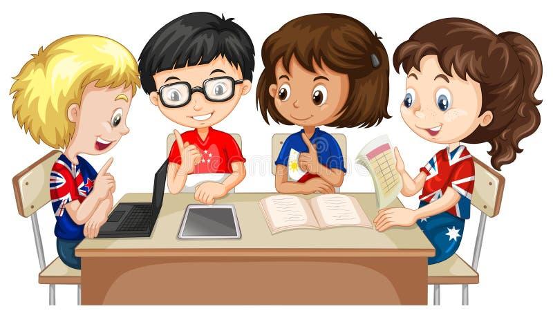 Ragazzi e ragazze che lavorano nel gruppo illustrazione di stock