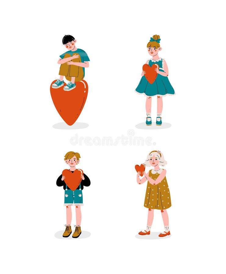 Ragazzi e ragazze che tengono l'insieme rosso dei cuori, Valentine Day Vector Illustration felice illustrazione di stock