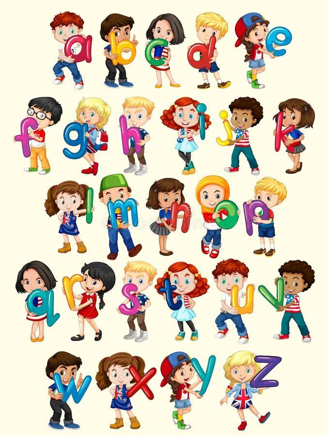 Ragazzi e ragazze con l'alfabeto inglese illustrazione vettoriale