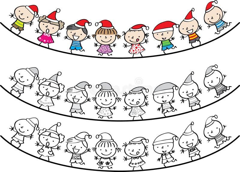 Ragazzi e ragazze in confine della carta di Buon Natale