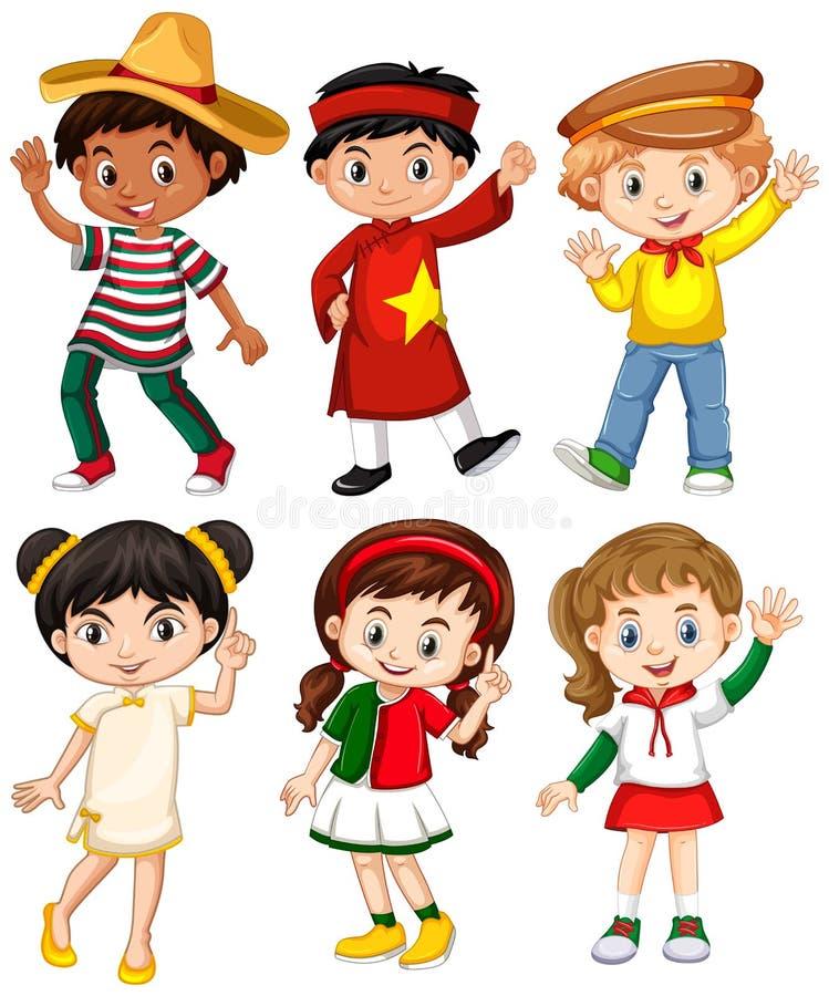 Ragazzi e ragazze in costume differente del paese illustrazione di stock