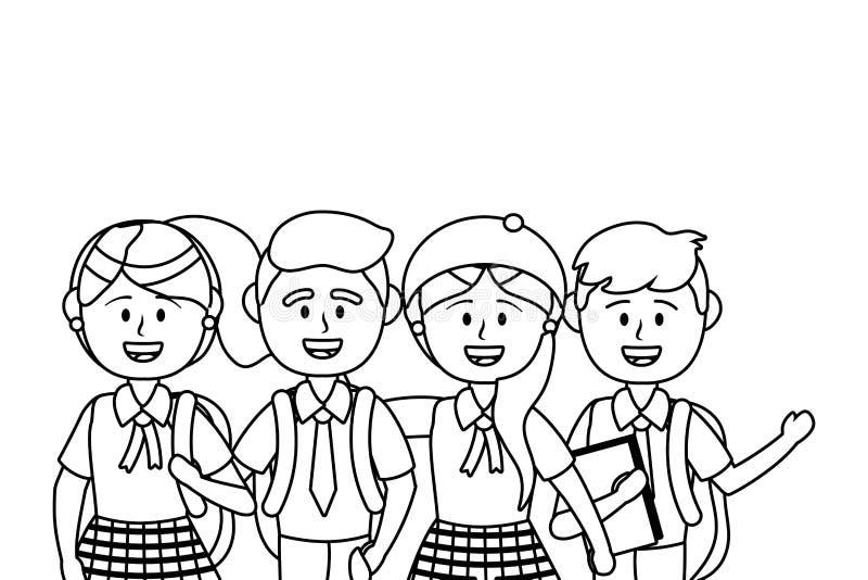 Ragazzi e ragazze dell'illustratore di vettore di progettazione della scuola illustrazione di stock