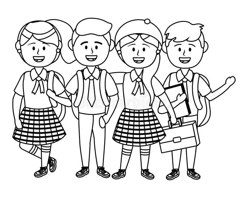 Ragazzi e ragazze dell'illustratore di vettore di progettazione della scuola illustrazione vettoriale