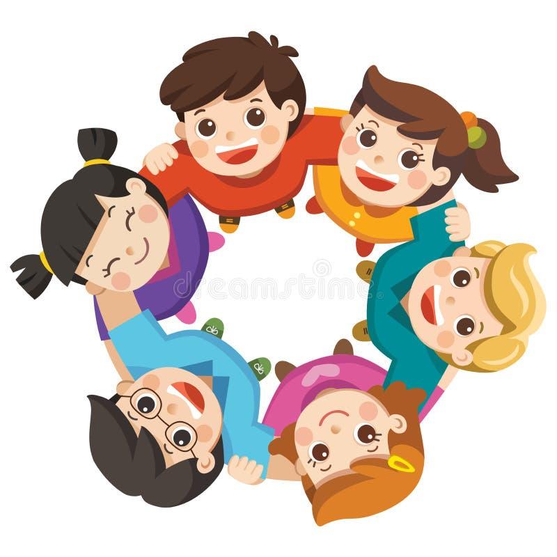 Ragazzi e ragazze di amicizia che stanno a braccetto formanti un cerchio illustrazione di stock