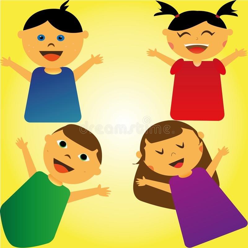 ragazzi e ragazze felici illustrazione vettoriale