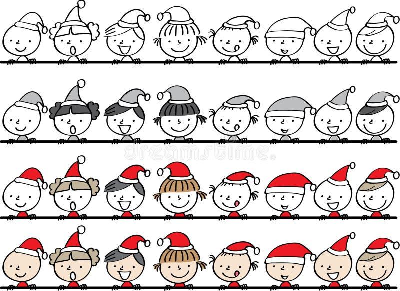 Ragazzi e ragazze nella carta di Buon Natale