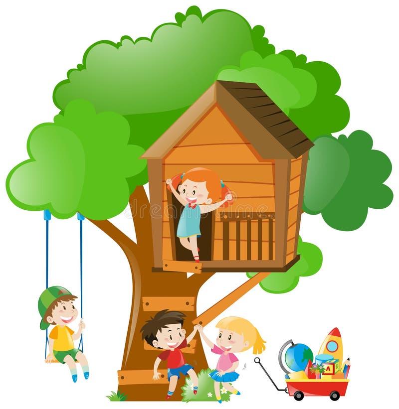 Ragazzi e ragazze sulla capanna sugli'alberi illustrazione di stock