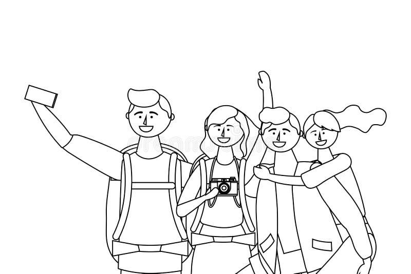 Ragazzi e ragazze turistici con progettazione della borsa royalty illustrazione gratis
