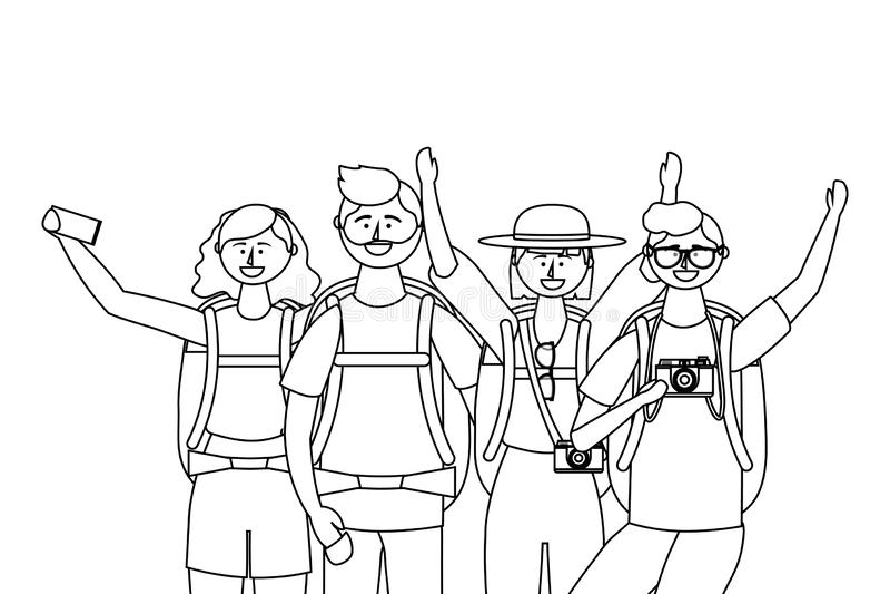 Ragazzi e ragazze turistici con progettazione della borsa illustrazione vettoriale