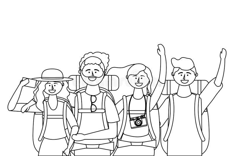 Ragazzi e ragazze turistici con progettazione della borsa illustrazione di stock