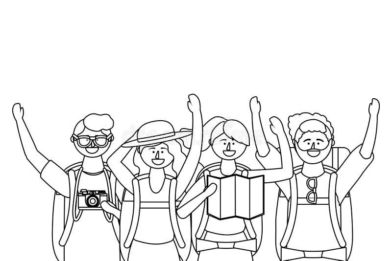 Ragazzi e ragazze turistici con progettazione delle borse illustrazione vettoriale
