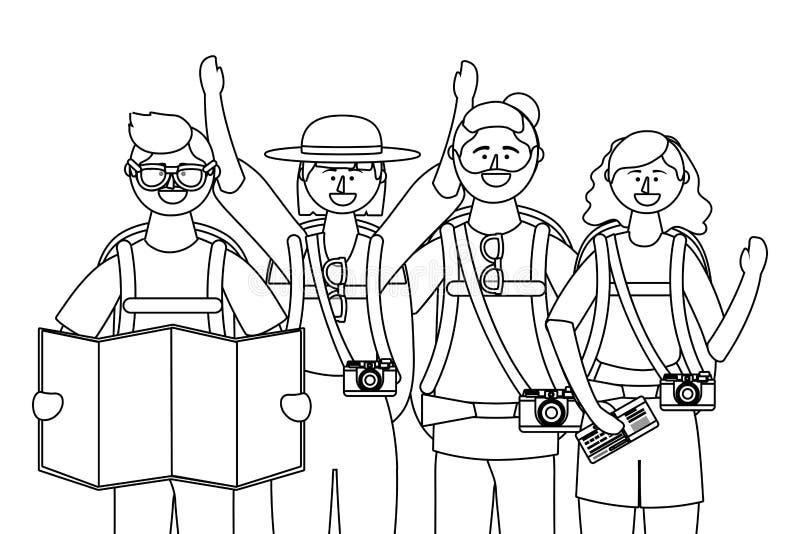 Ragazzi e ragazze turistici con progettazione delle borse royalty illustrazione gratis