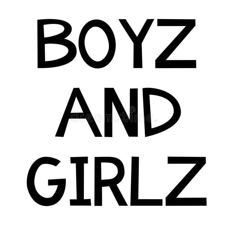 Ragazzi e slogan delle ragazze per i bambini illustrazione di stock