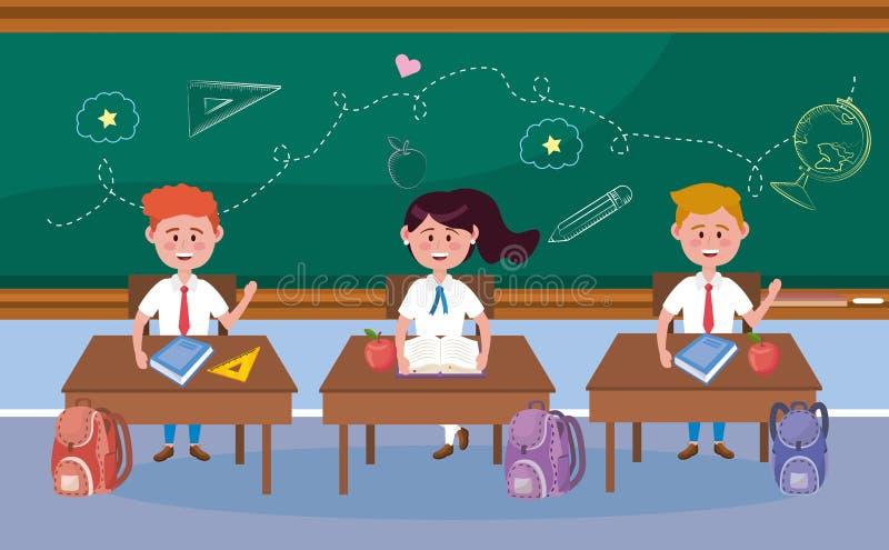 Ragazzi e studentesse nello scrittorio e nello zaino illustrazione di stock