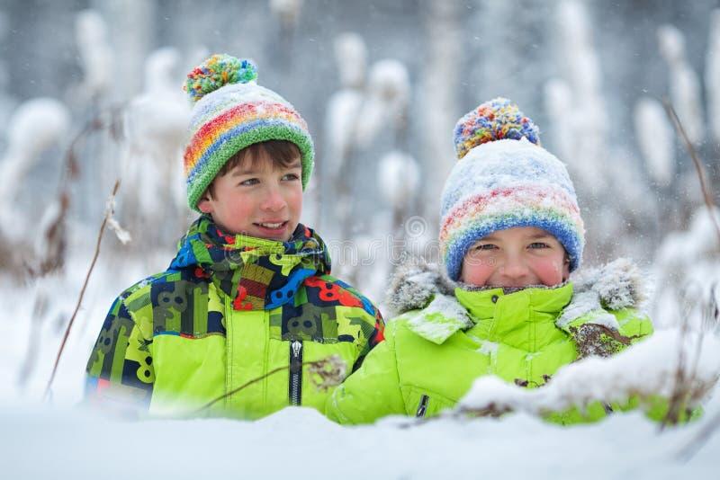 Ragazzi felici allegri che giocano nel parco di inverno, immagine stock libera da diritti