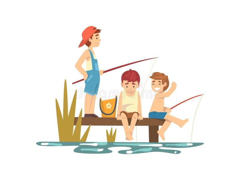 Ragazzi felici che pescano dal pilastro nella riva del fiume o del mare, personaggi dei cartoni animati dei pescatori con l'illus illustrazione di stock