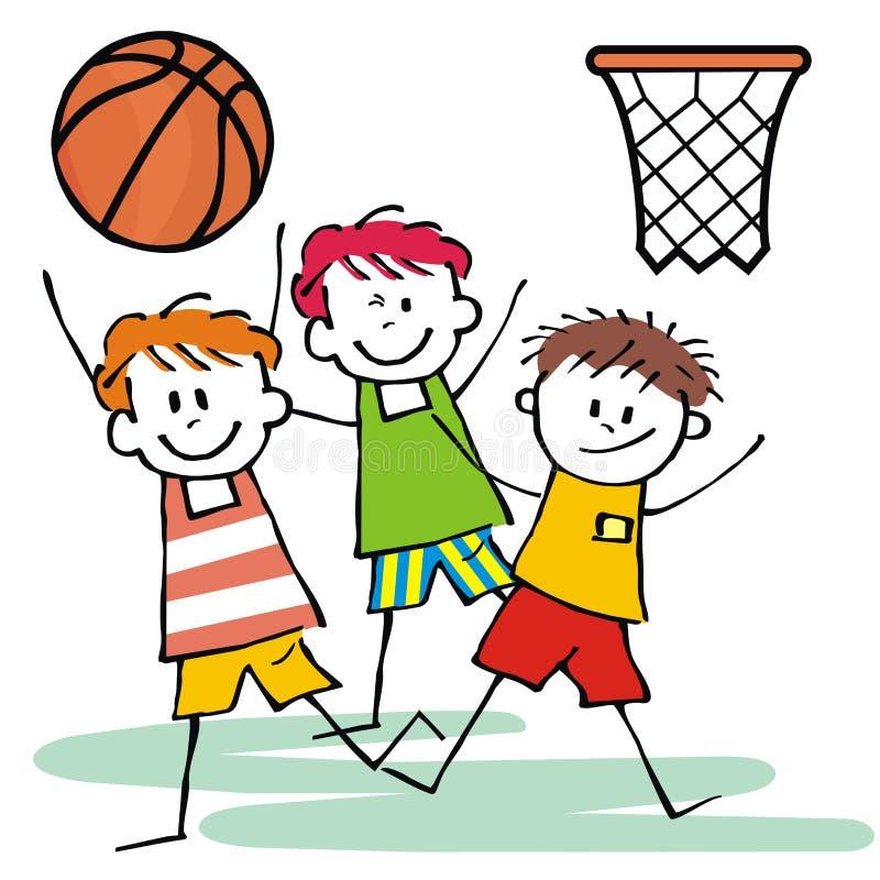 Ragazzi felici dell'albero, pallacanestro, illustrazione divertente illustrazione di stock