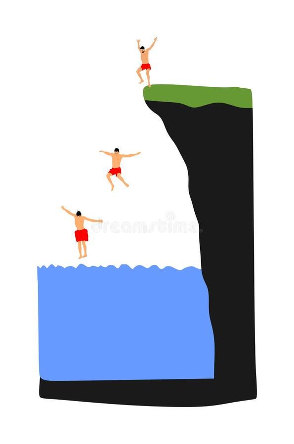 Ragazzi giovani che saltano in acqua Uomo divertendosi nella piscina Vettore di salto della scogliera illustrazione vettoriale