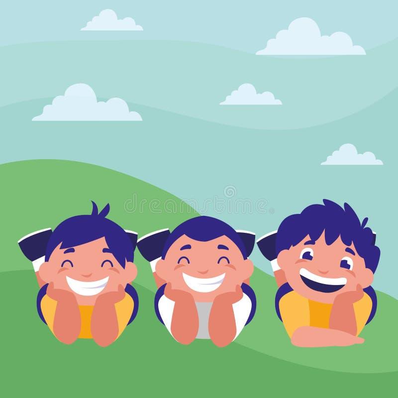 Ragazzi grassi felici nel campo illustrazione di stock