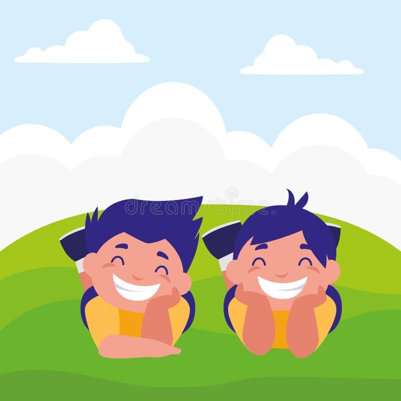 Ragazzi grassi felici nel campo illustrazione vettoriale